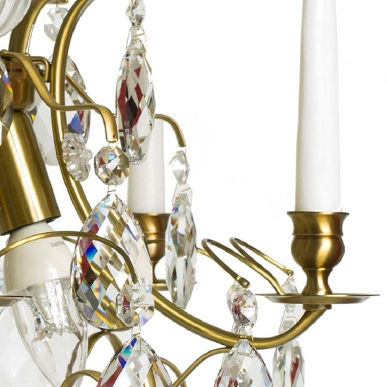 5 arm crystal chandelier in amber coloured brass gustavian style treniq 1 1522488173396