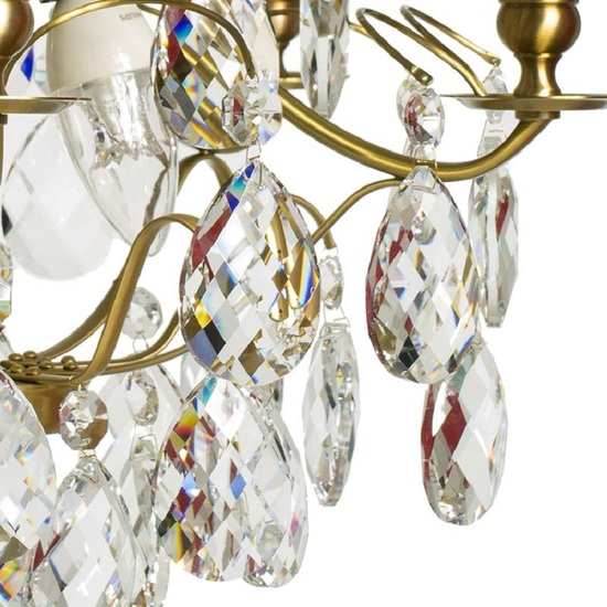 5 arm crystal chandelier in amber coloured brass gustavian style treniq 1 1522488173388