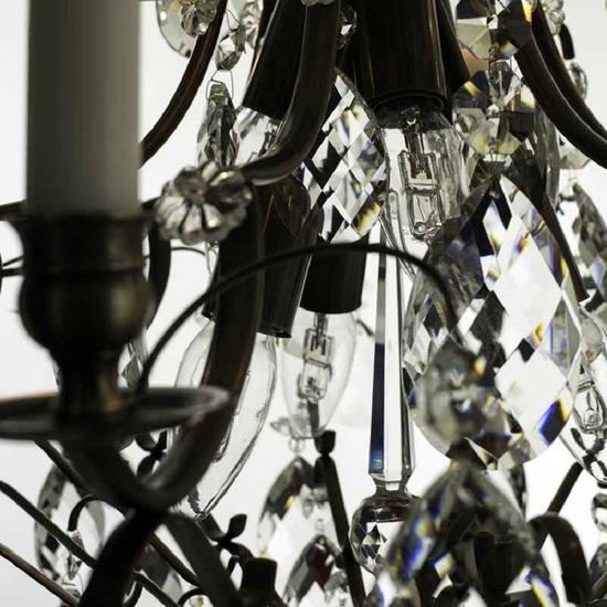 6 arm crystal chandelier in dark coloured brass gustavian style treniq 1 1522519370330