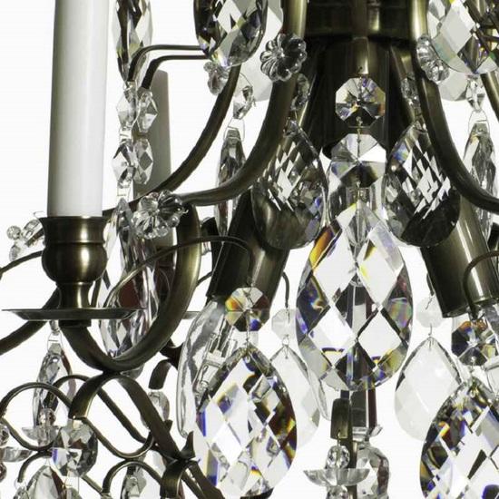 6 arm crystal chandelier in dark coloured brass gustavian style treniq 1 1522519370316