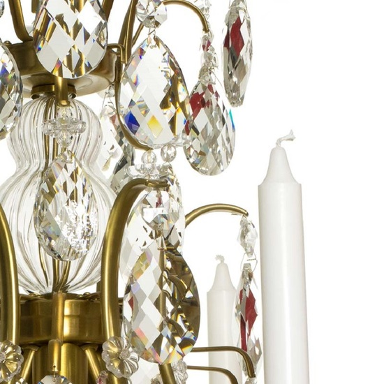 6 arm crystal chandelier in amber coloured brass gustavian style treniq 1 1522519831832