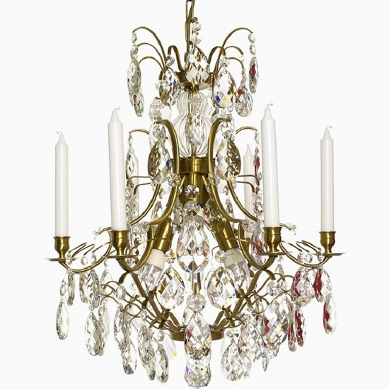 6 arm crystal chandelier in amber coloured brass gustavian style treniq 1 1522519831810