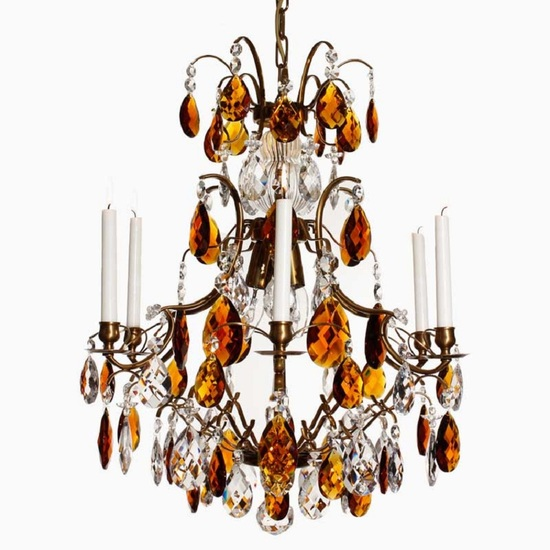 6 arm crystal chandelier in amber coloured brass with amber coloured crystals gustavian style treniq 1 1522522228224
