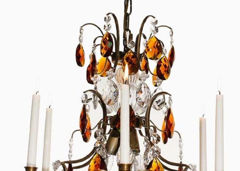 6 arm crystal chandelier in dark brass with amber coloured crystals gustavian style treniq 1 1522522350386