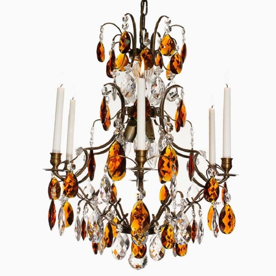 6 arm crystal chandelier in dark brass with amber coloured crystals gustavian style treniq 1 1522522350374