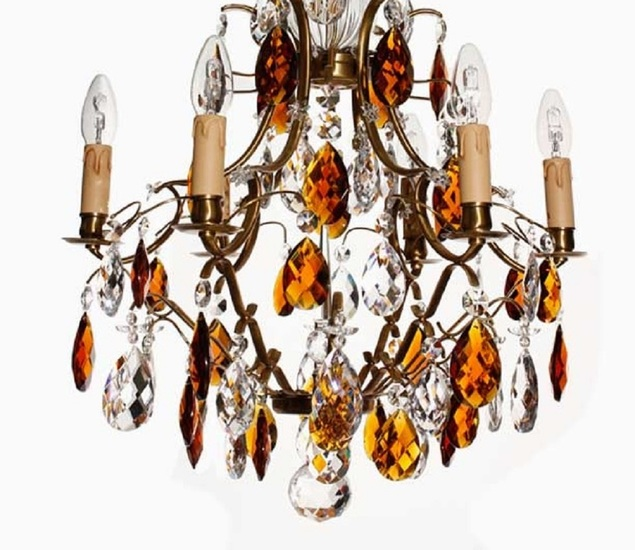 6 arm electric candle crystal chandelier in amber coloured brass with amber crystals gustavian style treniq 1 1522522498336