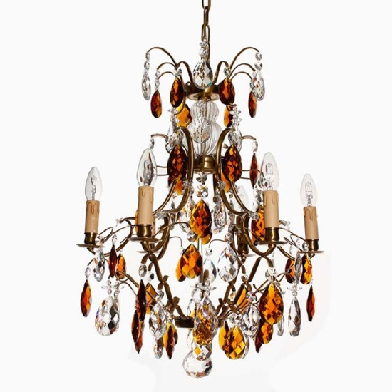 6 arm electric candle crystal chandelier with amber crystals treniq 6 arm electric candle crystal chandelier in amber coloured brass with amber crystals gustavian style treniq aloadofball Gallery