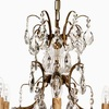 6 arm electric candle crystal chandelier in amber coloured brass gustavian style treniq 1 1522522615340