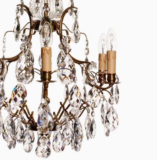 6 arm electric candle crystal chandelier in amber coloured brass gustavian style treniq 1 1522522615330