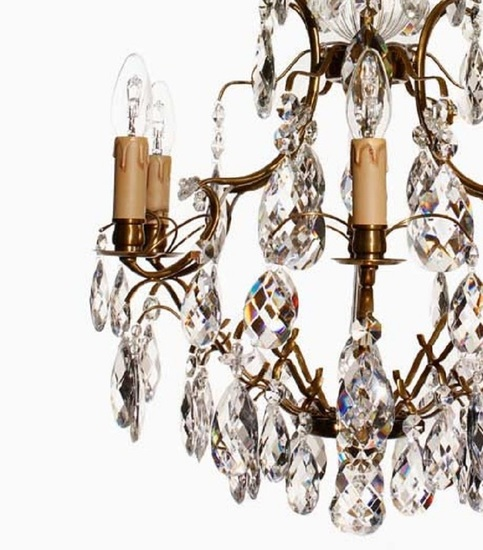 6 arm electric candle crystal chandelier in amber coloured brass gustavian style treniq 1 1522522615336