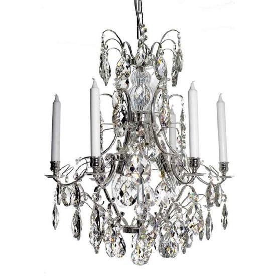 6 arm silver crystal chandelier in silver plated brass gustavian style treniq 1 1522522735222
