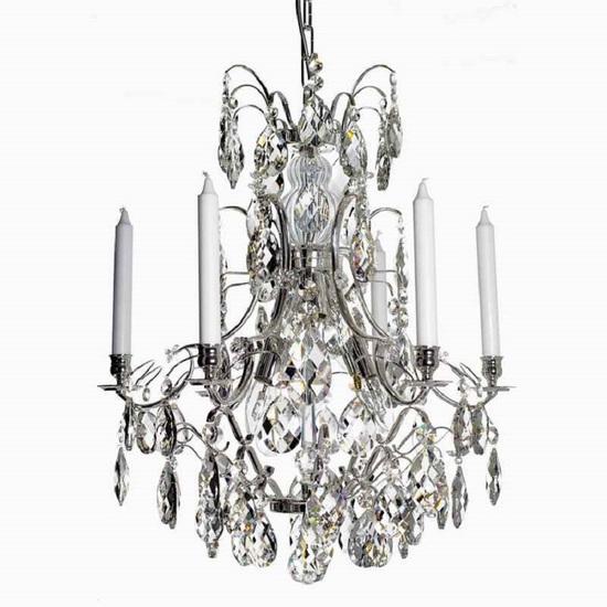 6 arm silver crystal chandelier in silver plated brass gustavian style treniq 1 1522522735230