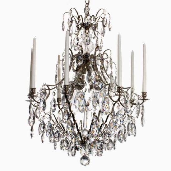 8 arm crystal chandelier in nickel plated brass gustavian style treniq 1 1522528298392