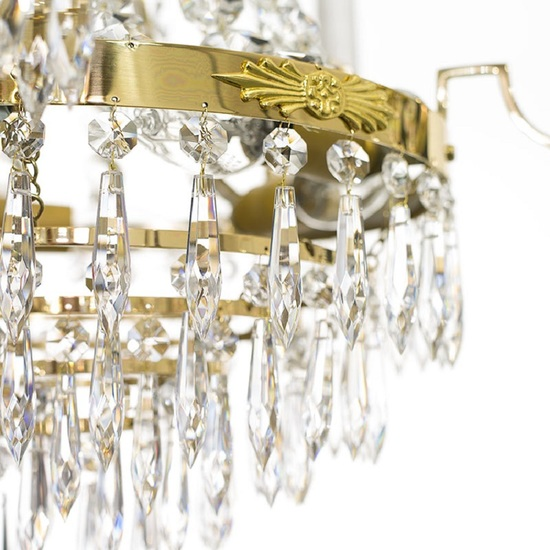 Empire crystal chandelier in polished brass with bottom of crystal drops gustavian style treniq 1 1522528576158