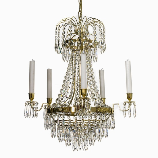 Empire crystal chandelier in polished brass with bottom of crystal drops gustavian style treniq 1 1522528576144