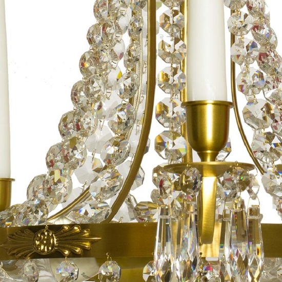 Empire crystal chandelier in amber coloured brass with a basket of crystal octagons gustavian style treniq 1 1522529022102