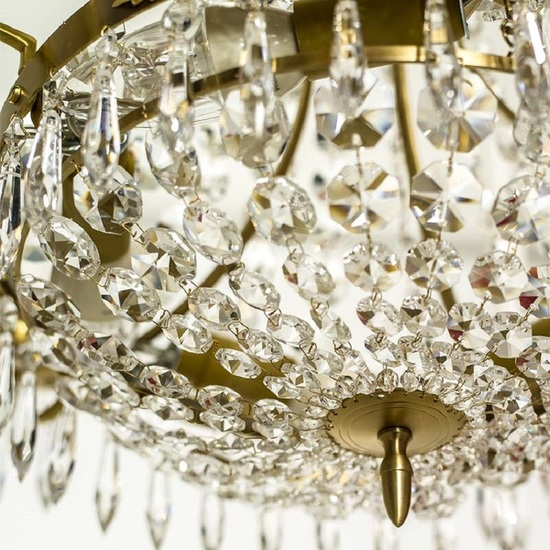 Empire crystal chandelier in amber coloured brass with a basket of crystal octagons gustavian style treniq 1 1522529022112