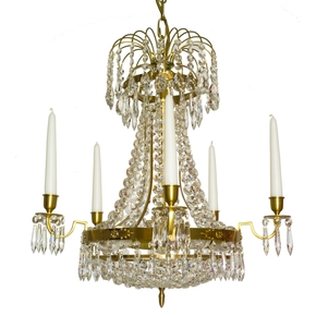 Empire-Crystal-Chandelier-In-Amber-Coloured-Brass-With-A-Basket-Of-Crystal-Octagons_Gustavian-Style_Treniq_0