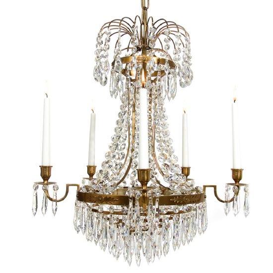 Empire crystal chandelier in amber colour treniq empire crystal chandelier in amber coloured brass with bottom of crystal drops gustavian style treniq 1 aloadofball Image collections