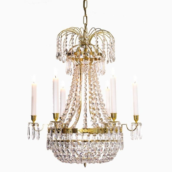 6 arm empire crystal chandelier in polished brass with a basket of crystal octagons gustavian style treniq 1 1522529618780