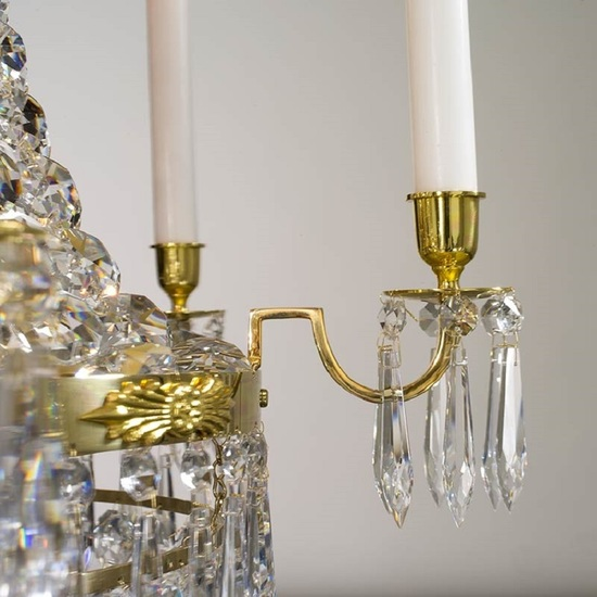 6 arm empire crystal chandelier in polished brass with a basket of crystal octagons gustavian style treniq 1 1522529618788