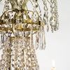 6 arm empire crystal chandelier in polished brass with a basket of crystal octagons gustavian style treniq 1 1522529618792