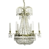 6 arm empire crystal chandelier in polished brass with a basket of crystal octagons gustavian style treniq 1 1522529618776