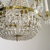 6 arm empire crystal chandelier in polished brass with a basket of crystal octagons gustavian style treniq 1 1522529618798
