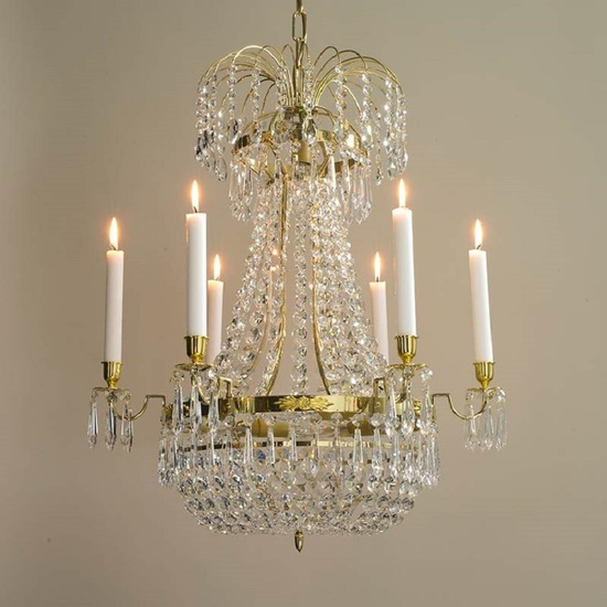 6 arm empire crystal chandelier in polished brass with a basket of crystal octagons gustavian style treniq 1 1522529618804