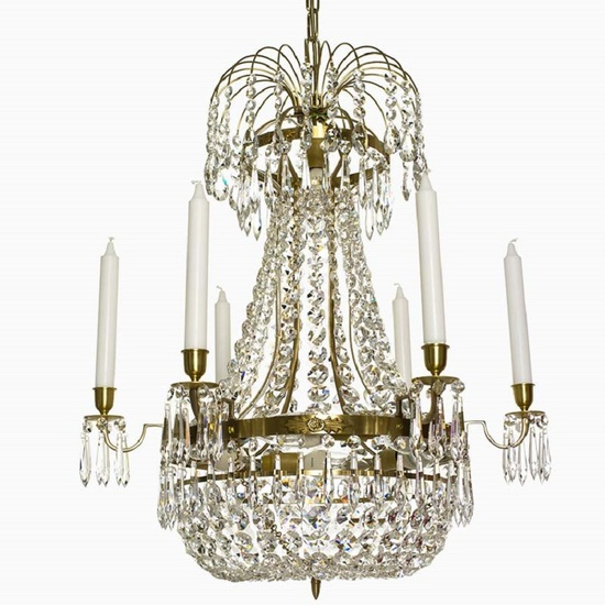 6 arm empire crystal chandelier in amber coloured brass with a basket of crystal octagons gustavian style treniq 1 1522529832112