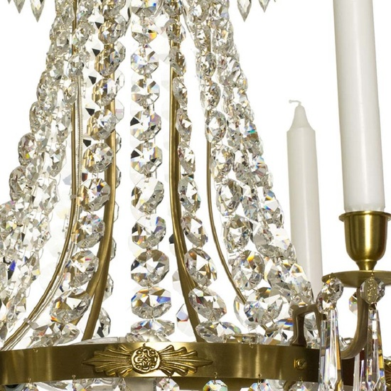 6 arm empire crystal chandelier in amber coloured brass with a basket of crystal octagons gustavian style treniq 1 1522529832134
