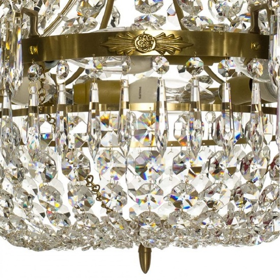 6 arm empire crystal chandelier in amber coloured brass with a basket of crystal octagons gustavian style treniq 1 1522529832140
