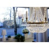 6 arm empire crystal chandelier in amber coloured brass with a basket of crystal octagons gustavian style treniq 1 1522529832154