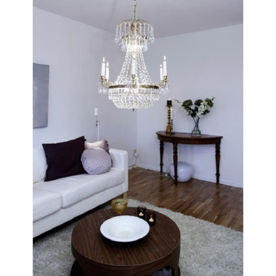 6 arm empire crystal chandelier in amber coloured brass with a basket of crystal octagons gustavian style treniq 1 1522529832164