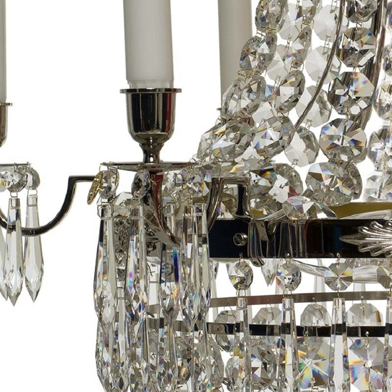6 arm empire crystal chandelier in nickel plated brass with a basket of crystal octagons gustavian style treniq 1 1522530045894