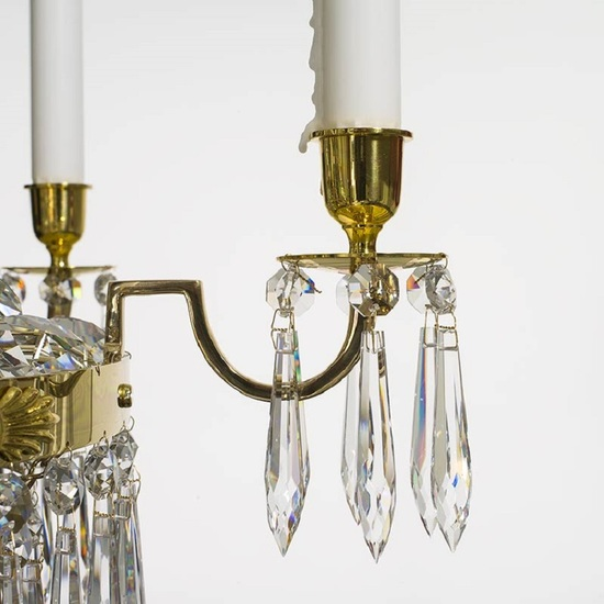6 arm empire crystal chandelier in polished brass with crystal drops gustavian style treniq 1 1522530155844