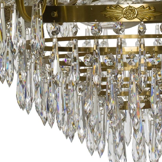 6 arm empire crystal chandelier in amber coloured brass with crystal drops gustavian style treniq 1 1522530694194