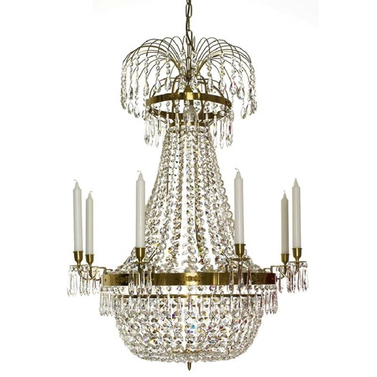 8 arm empire crystal chandelier in amber coloured brass with a basket octagons of crystal gustavian style treniq 1 1522530839506