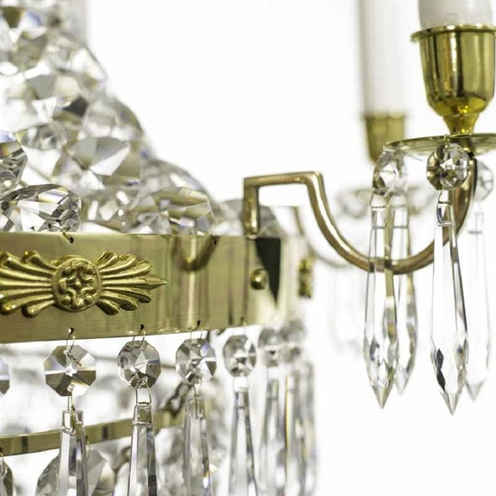 8 arm empire crystal chandelier in polished brass with a basket of crystal octagons gustavian style treniq 1 1522531072004