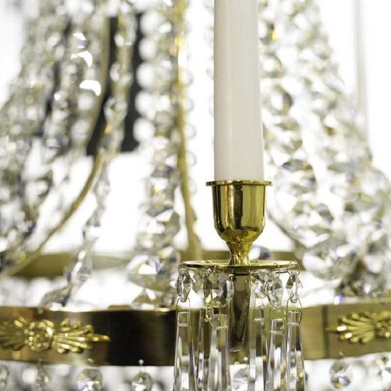8 arm empire crystal chandelier in polished brass with a basket of crystal octagons gustavian style treniq 1 1522531072010