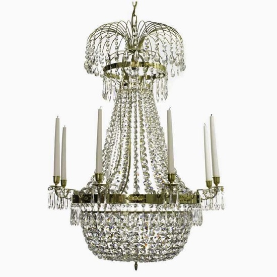 8 arm empire crystal chandelier in polished brass with a basket of crystal octagons gustavian style treniq 1 1522531071994