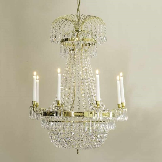 8 arm empire crystal chandelier in polished brass with a basket of crystal octagons gustavian style treniq 1 1522531072026