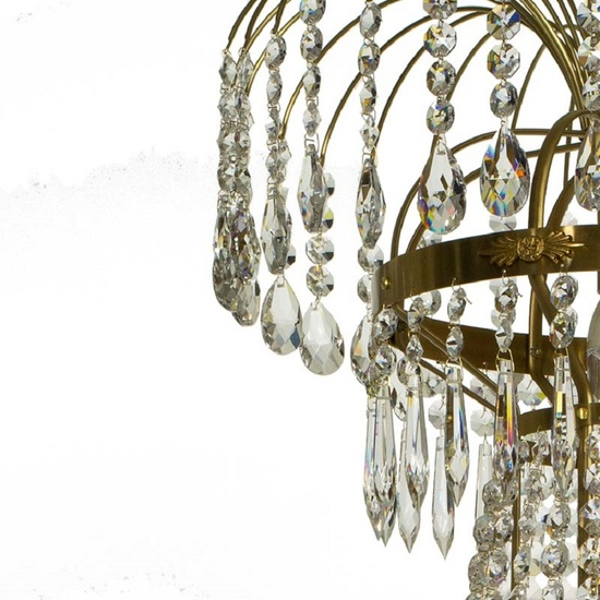 8 arm empire crystal chandelier in amber coloured brass with crystal drops gustavian style treniq 1 1522531306840