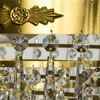 8 arm empire crystal chandelier in amber coloured brass with crystal drops gustavian style treniq 1 1522531306852