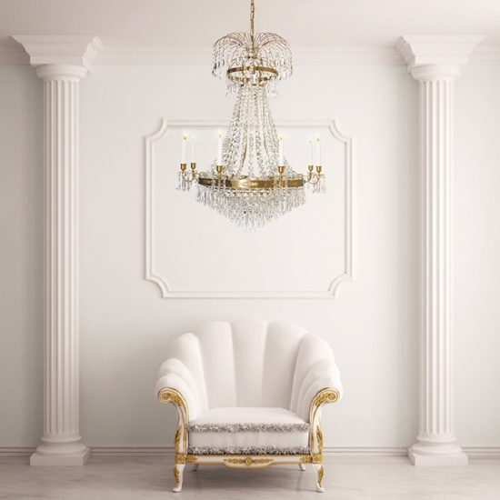 8 arm empire crystal chandelier in amber coloured brass with crystal drops gustavian style treniq 1 1522531306862