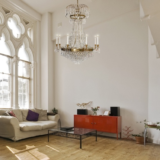 8 arm empire crystal chandelier in amber coloured brass with crystal drops gustavian style treniq 1 1522531306858