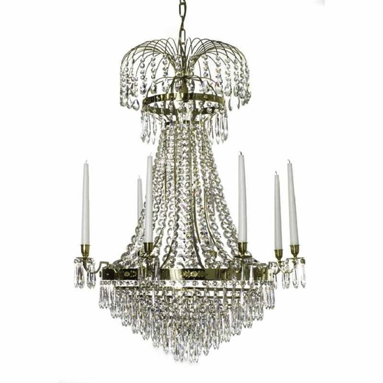 8 arm empire crystal chandelier in polished brass with crystal drops gustavian style treniq 1 1522531609044