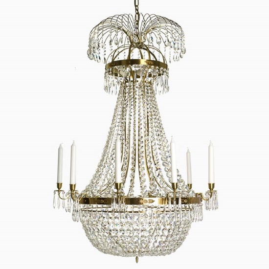 10 arm empire crystal chandelier in amber coloured brass with a basket of crystal octagons gustavian style treniq 1 1522532173498