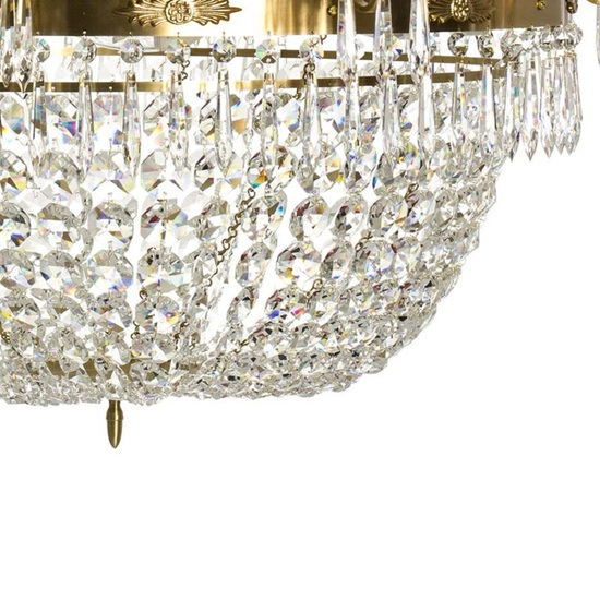10 arm empire crystal chandelier in amber coloured brass with a basket of crystal octagons gustavian style treniq 1 1522532173524