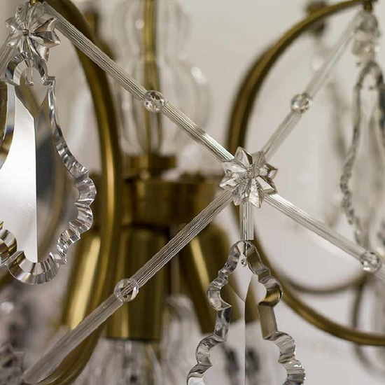 5 arm rococo crystal chandelier in amber coloured brass with crystal pendeloques gustavian style treniq 1 1522532326460